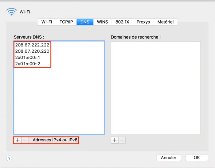 Modifier ses résolveurs DNS