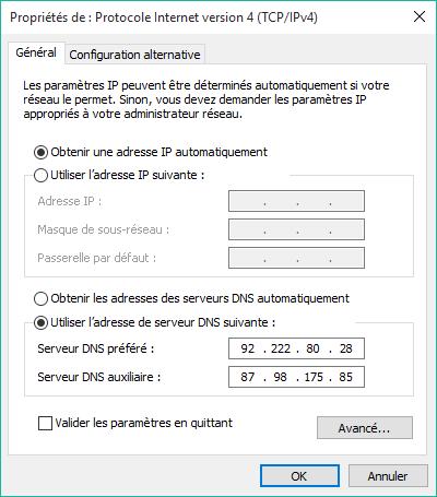 Modifier ses serveurs DNS