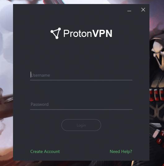 Page de login sur le client ProtonVPN