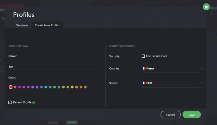 Création profil ProtonVPN