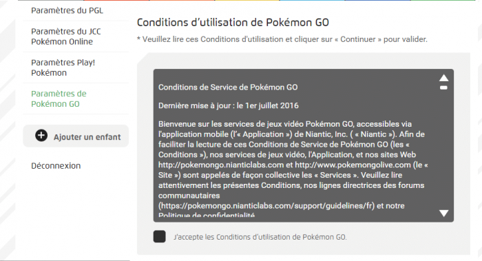 conditions d'utilisation de Pokémon GO