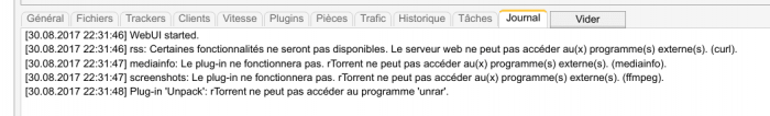 Erreurs ruTorrent